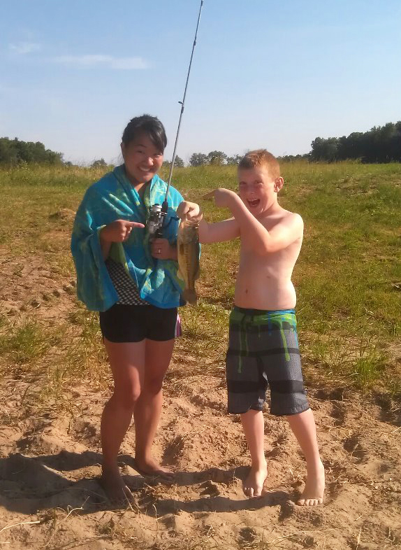Leah and Ben fishing