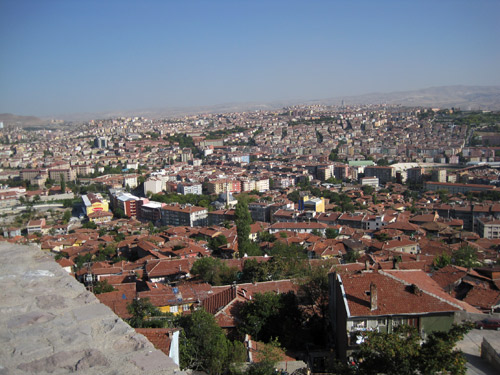 View from the Ulus Castle in Ankara, Turkey