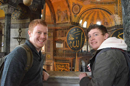 David and Daniel on the 2nd floor of the Hagia Sophia