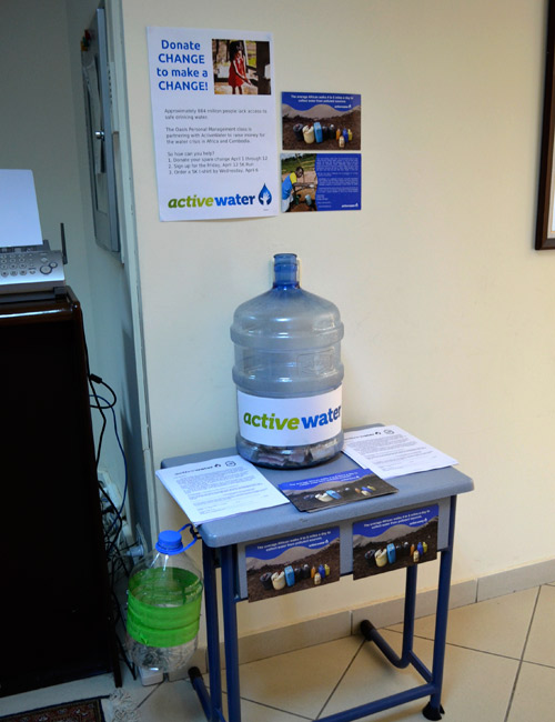 The ActiveWater donation jug