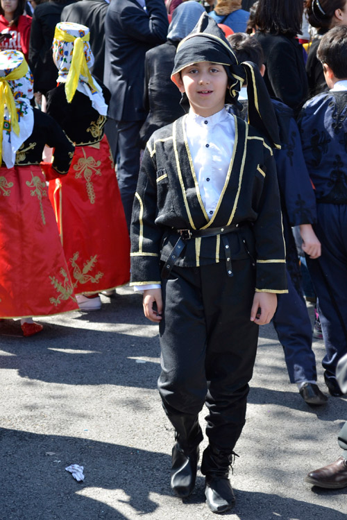 Boy wearing traditional Turkish clothing on Children's Day