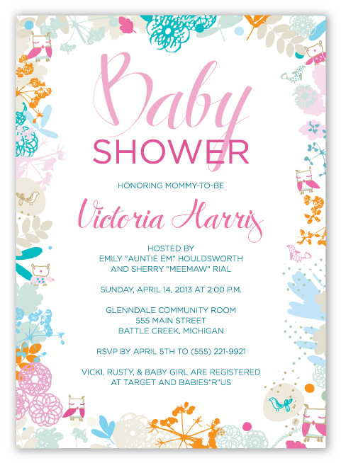 Owl themed baby shower invitation.