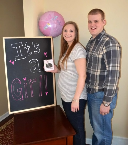 At vicki and Rusty's baby gender reveal party. It's a girl!