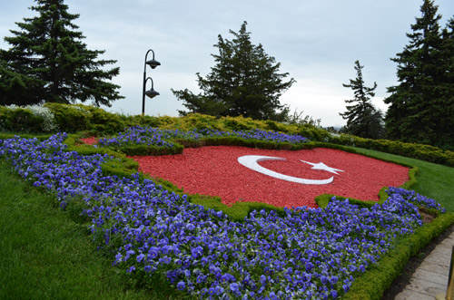 Turkish flag garden display