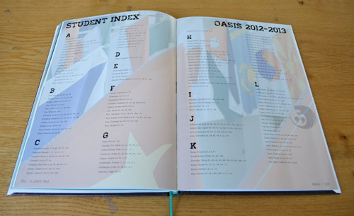 Yearbook index page