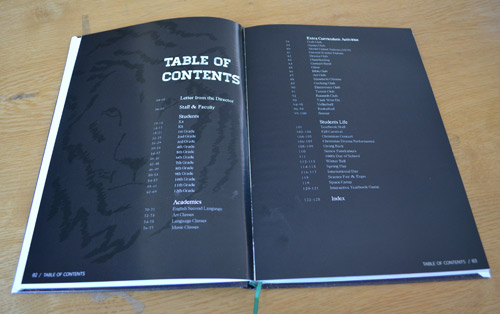 Yearbook table of contents