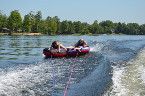 Kendra and David tubing