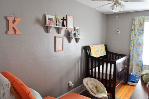 Gray and coral nursery