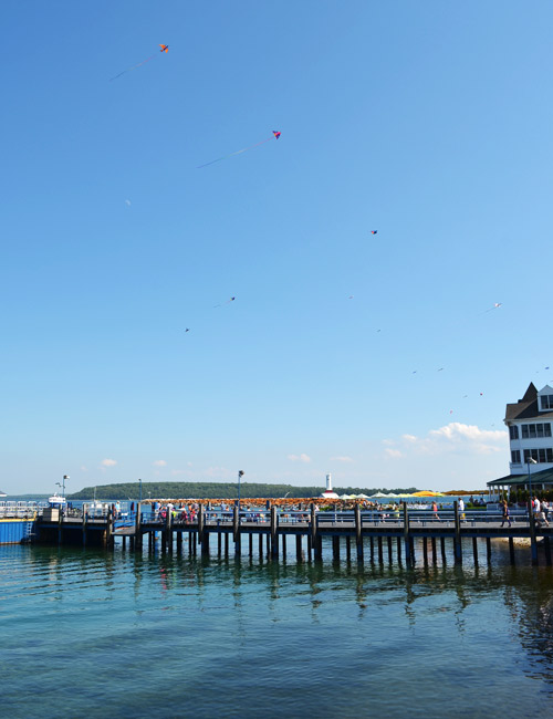 Kites on the Mackinac Island pier