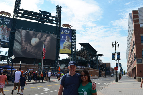 Outside Comerica Park