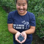 Holding blueberries