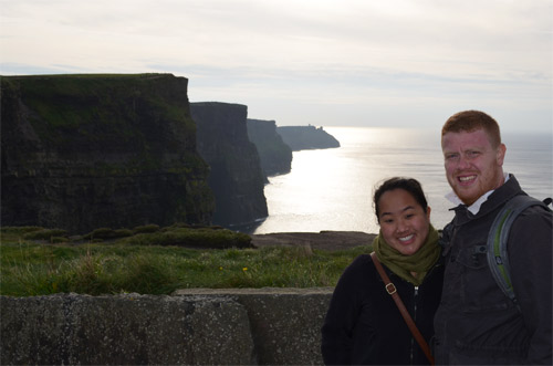 Leah and David at the Cliffs of Moher