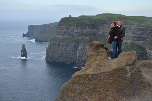 David and Leah at the Cliffs of Moher