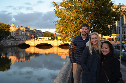 Friends by the canal in Dublin