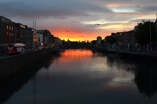 Sunset over the Dublin canals