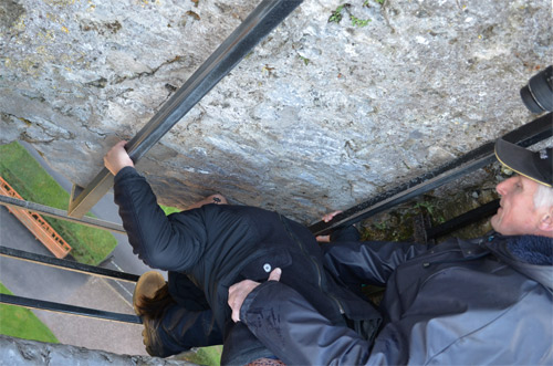 Leah kissing the Blarney Stone