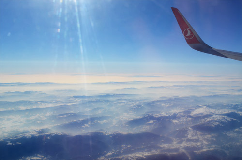 In-flight over mountains in Turkey