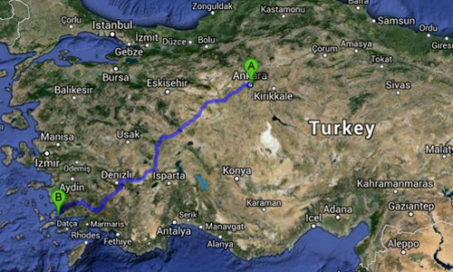Map of Ankara to Bodrum, Turkey