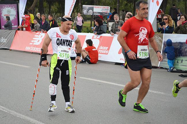 Runtalya runner on crutches