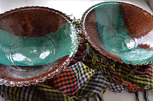 Brown and teal handmade bowls