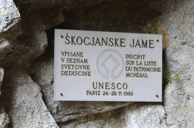 Škocjan Caves Plaque