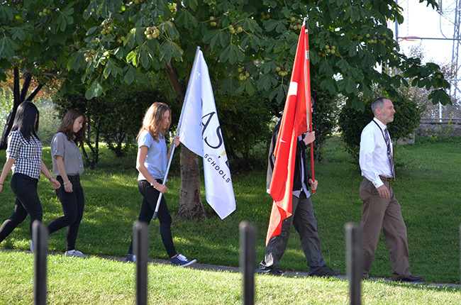 Thankful walk with school and Turkish flag