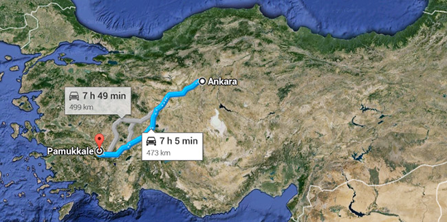 Ankara to Pamukkale map