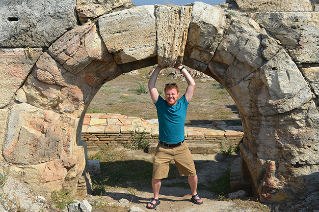 David holding up a catenary arch
