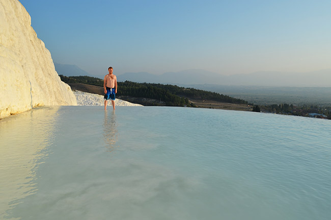 David in the Pamukkale pool