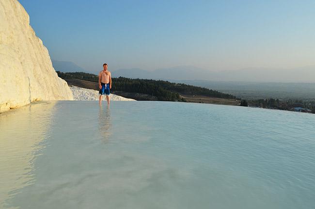 David in the Pamukkale pool