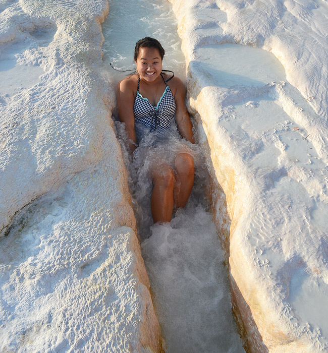 Leah in the water at Pamukkale
