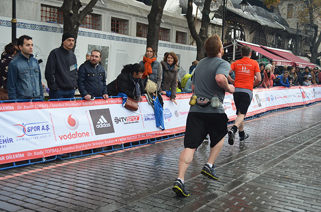David finishing his second marathon