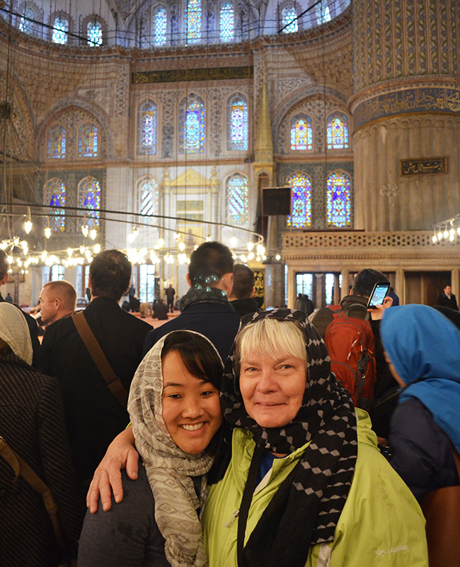 Leah and Mom in the Blue Mosque
