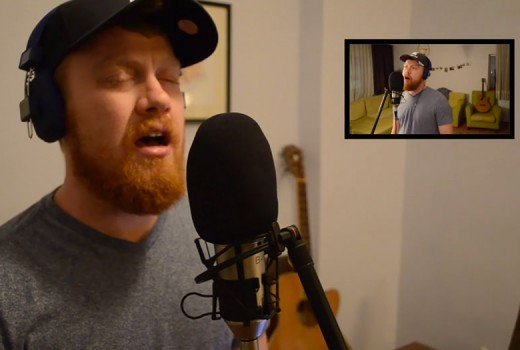David singing into a microphone