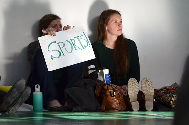 Teacher cheering sports