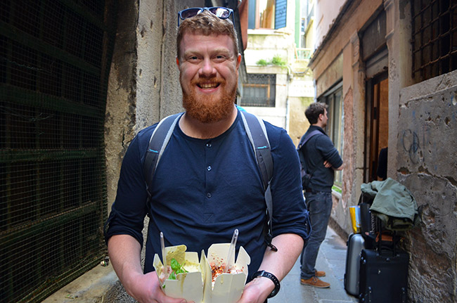 David holding Del Moro Pasta