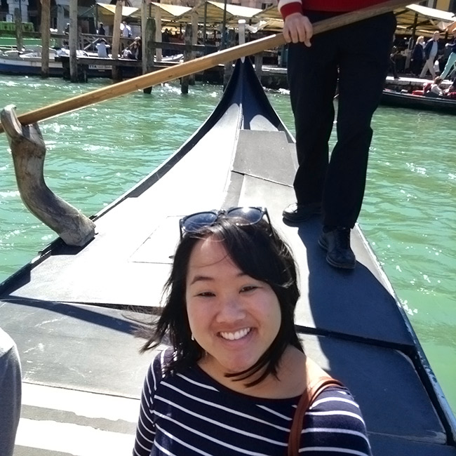 Leah on a gondola