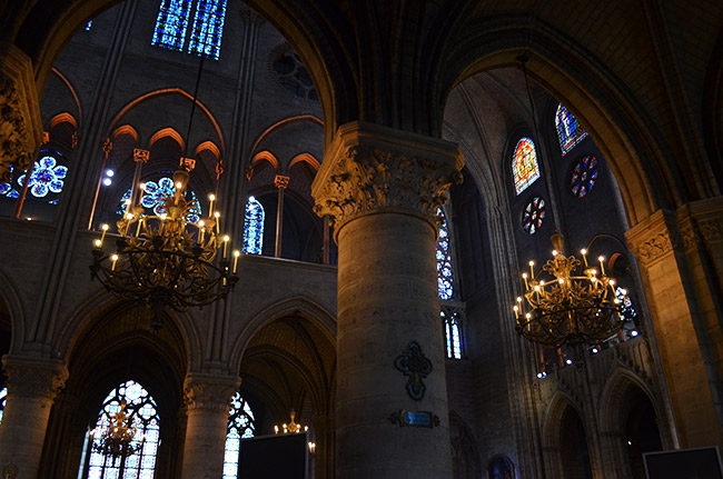 Notre Dame chandeliers and windows