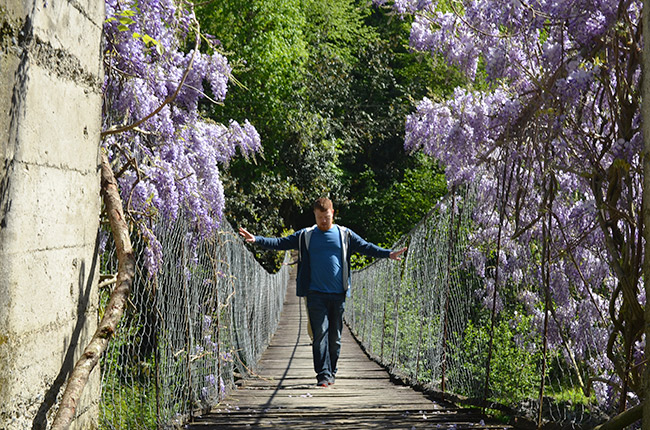 David walking on an old bridge