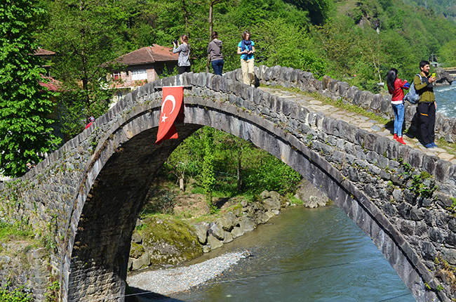 Bridge with Turkish flag