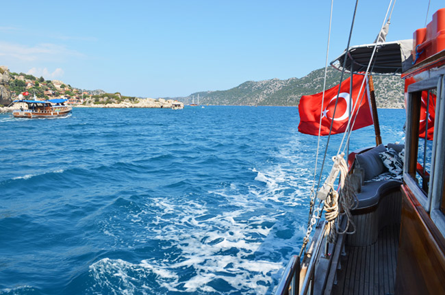 Turkish boat rental with flag