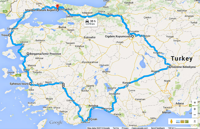 Our two week route in Turkey