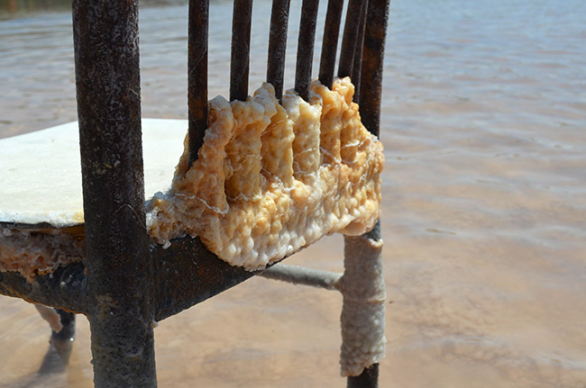 Salt deposits on a chair