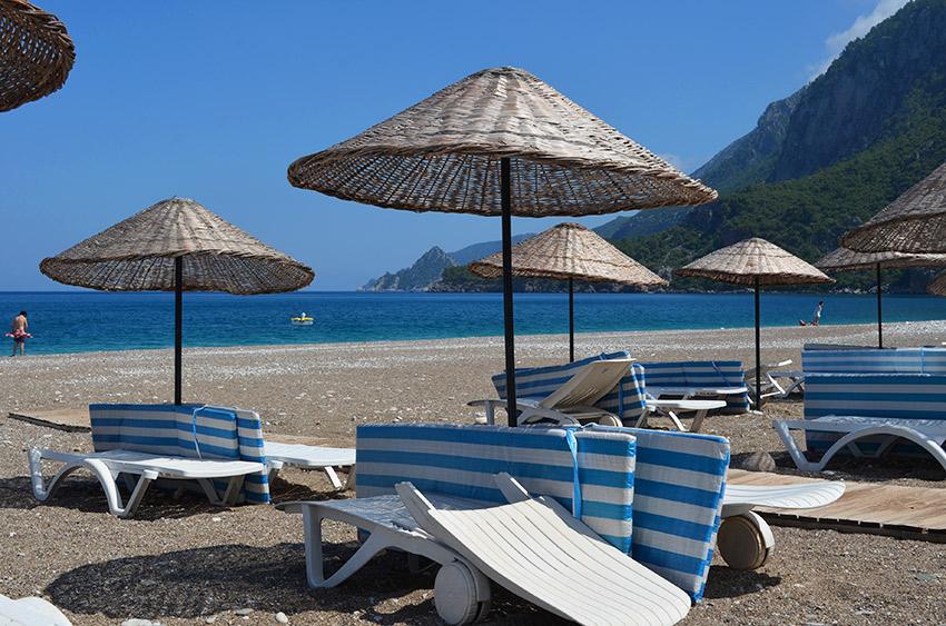 Beach chairs at Çıralı