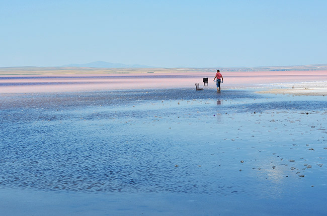 Man wading in the Turkey salt lake