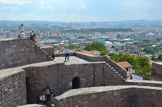Mom waving on the Ankara Castle