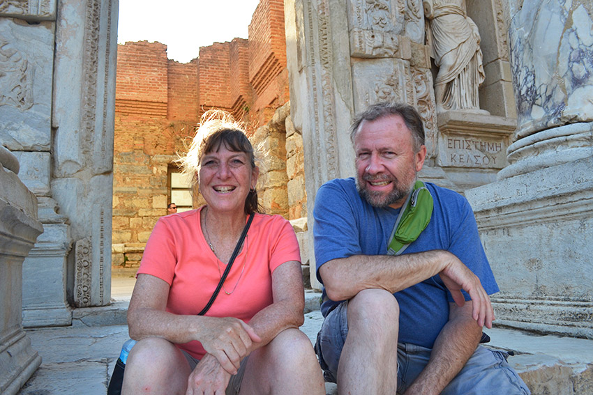 Mom and Dad on steps of Library of Ephesus