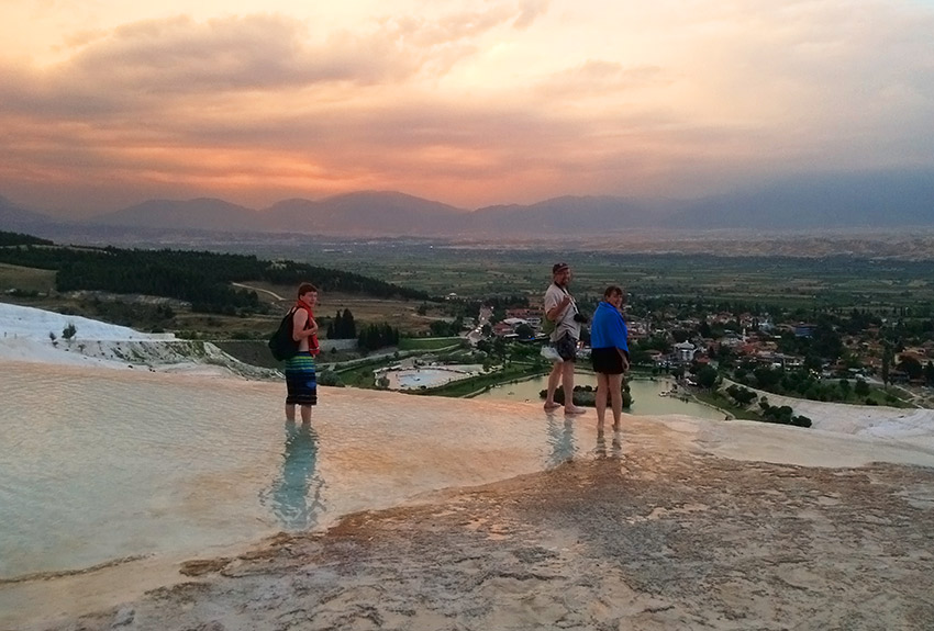 Walking down Pamukkale