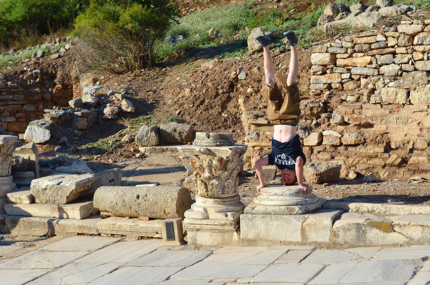 Sam headstand in Ephesus
