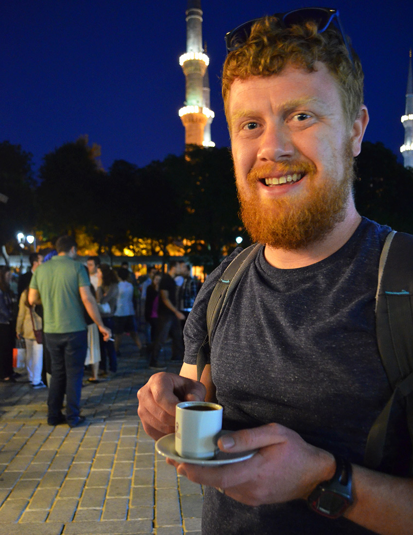 David holding Turkish Coffee Cup